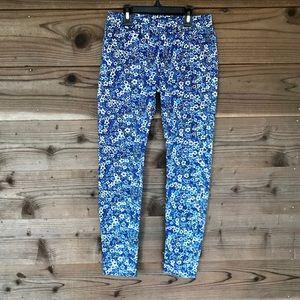 Gap Floral Blue Denim Pull-On Leggings Sz 10